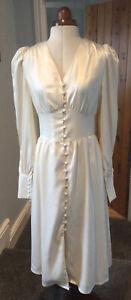 VINTAGE 1980's 1940's STYLE BUTTON FRONT CREAM DRESS