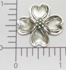 30824         3 Pc Matte Silver Oxidized Dogwood Floral Jewelry Finding