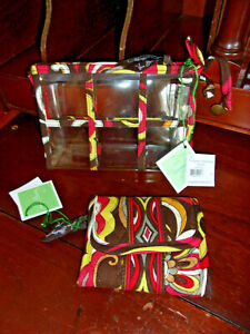 New VERA BRADLEY Puccini WALLET Travel POUCH Coin PURSE Quilted Brown Paisley 2