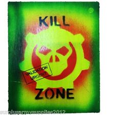 KILL ZONE SIGN WOODEN WALL PLAQUE TARGET KIDS PLAYHOUSE ARMY SHED GAMING OFFICE