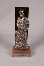 Pewter Jesus & Roman Soldier Peltro Religious Figurine Wood & Marble Base Italy
