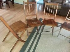 Antique Deco Set Of 4 Wood Slat Curved Spindle Folding Chair