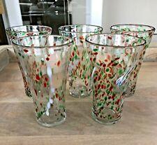 """5 Libbey Hand Blown Glass 6"""" Tumbler Glasses Red, Green, White Confetti Design"""