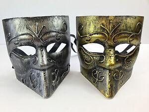 Hommes Bauta - Vénitien Masque Argent Or Métal Style Déguisement Bal Carnaval