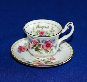 Royal Albert Flower of the Month Series Miniature Cup & Saucer Poppy August.