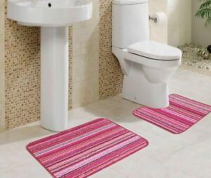 2 Pc Pink Micro Polyester Bathmat with Contour Set Of 40 x 60 cm - Super Soft