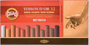 Koh-I-Noor Toison Dor 8522 Artists Soft Round Pastels Set of 12 Browns