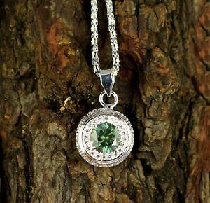 Green Diamond 4.56 Ct  Solitaire Halo Graceful Look & Shine Pendant