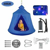 330LBS Hang Out Tent Hanging Tree Tent For Kid and adult W/ String Lights Indoor
