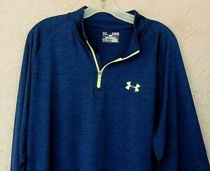 Under Armour Sz XL Loose Navy Lime Knit Athletic LS Top Shirt 1/4 Zip Heat Gear