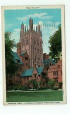 CT New Haven Connecticut 1934 antique post card Yale Univ Wrexham Tower