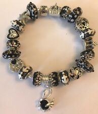 ❤️European CHARM BEADS BRACELET ~ Black Beads w/ Sterling Silver Plated Chain❤️