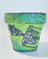 Halloween skeleton green indoor planter clay flower pot, terrracota garden decor