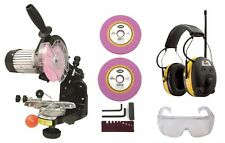 Electric Chainsaw CHAIN SHARPENER w/ Grinding Discs, Peltor Worktunes & Glasses