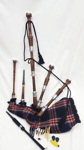 Great Scottish Highland Bagpipes Natural Finish Silver Mounts Black Stewart