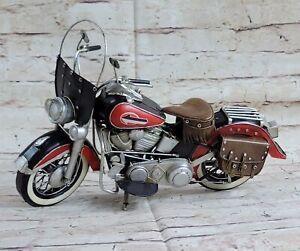 Red/ Black Tinplate 1:8 Vintage 19521 Harley Davidson Sculpture Metal Figurine