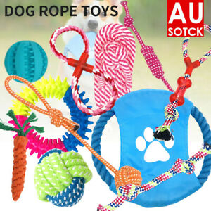 11PC Dog Braided Rope Toys Pet Puppy Chew Bite Toy Gift Tough Cotton Clean Teeth
