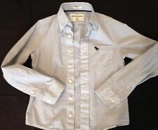 boys abercrombie kids blue white square pattern button down dress shirt M 8 10