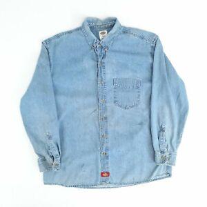 Vintage Dickies Denim Shirt Blue XL Long Sleeve