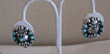 Antique 1930's Sterling Mexico Turquoise Earrings
