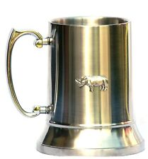 More details for rhinoceroses rhino 1 pint stainless steel tankard free postage gift boxed 297