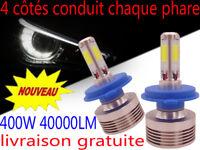 Ampoule H7 H4 H11 LED Blanc 400W Xenon 6000K Ventilé Aluminium Phare Cob Voiture