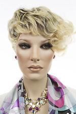 Dark Brown Tipped Pale Blonde Short Heat Friendly Pixie Wavy Wigs