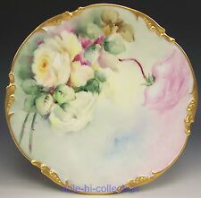 LIMOGES HAND PAINTED ROSES CABINET PLATE