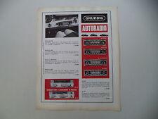 advertising Pubblicità 1967 AUTORADIO GRUNDIG WELTKLANG AS 2000/3000/4000/4500