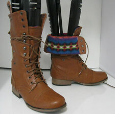 woman ladies TAN LACE  Rugged Military Combat Riding Winter boots size  8  p