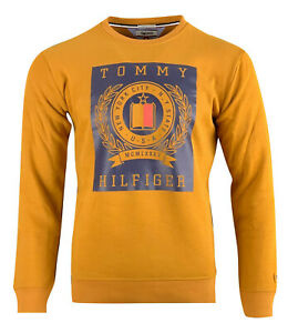 Tommy Hilfiger Men's Denim Graphic Crew Neck Sweatshirt Long Sleeve Camel Beige