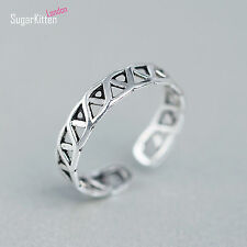 VINTAGE Solido 925 Argento Sterling 4.5mm Celtico Dito/Thumb Ring Open Band UK