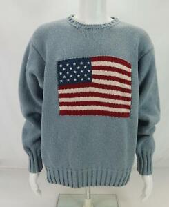 Polo Sport Men's Crewneck Sweater USA Flag Logo Pullover Gray Medium