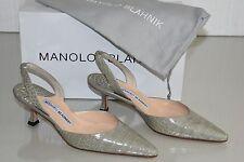 $5400 NEW Manolo Blahnik CAROLYNE 50 Pale Grey ALLIGATOR CROCODILE SHOES 36