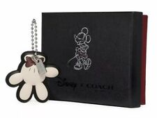 Disney X Coach Minnie Mouse Leather Bag Charm Glove Sparkly NEW In Box Deadstock