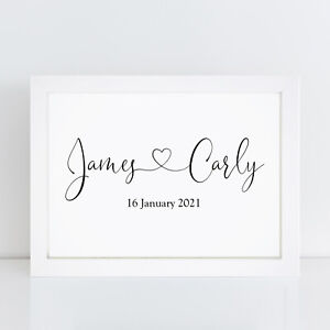 Personalised Wedding Print Mr And Mrs Engagement Gift Couples Gifts Girlfriend