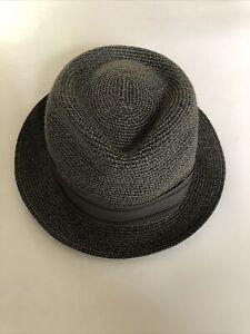 GOORIN BROS Straw Fedora Trilby Boater Panama Hat Size Grey L NEW