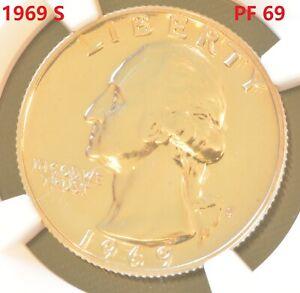 US Proof Washington Quarters 1969-S 25C Coin NGC PF 69
