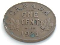 1921 Canada 1 One Cent Small Copper Penny Circulated Canadian Coin I313