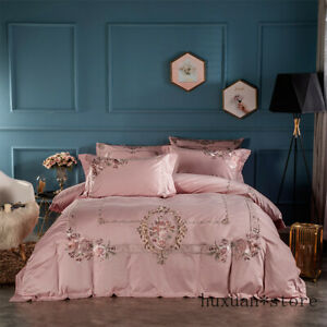 Pink Embroidery Flower Luxury Bedding Set Egyptian Cotton Queen King Duvet Cover