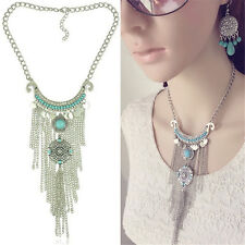 Retro Bohemian Gypsy Style Turquoise Tassel  Chain Choker Pendant Necklace LI