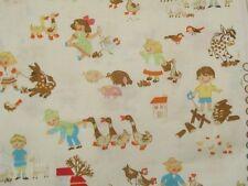 2 Yards Michael Miller Farm Kids Cream Fabric Children Barnyard Animals OOP HTF