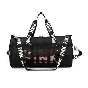 丿Pink Gym Bag with Sequins Compartment &Wet Pocket Gym Duffel Bag Overnight Bag