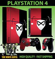 PS4 Piel Harley Quinn Logotipo Rojo y negro PUDDIN Pegatina + MANDO de pie