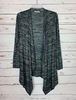 Le Lis Stitch Fix Women's S Small Gray Black Open Draped Knit Cardigan