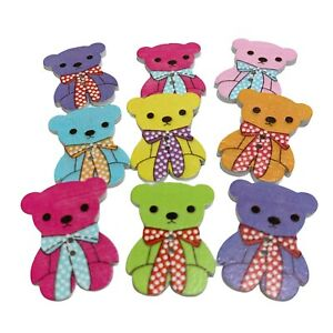 25 LARGE WOODEN TEDDY BEAR BUTTONS - MIXED RANDOM COLOURS - CRAFT  - SEW - CARDS