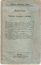 Fascicolo: Répertoire Théatre francais a Berlin - LE CHEVEU BLANC - Schlesinger