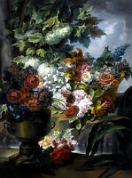 Still Life Fountain Urn Basket of Roses Painting by Miguel Parra Abril Art Repro