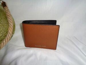 Michael Kors Harrison Billfold Pass Case Bifold Wallet Luggage Leather Men's