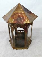"""Vtg 1978 Hand Made Tin Music Box Gazebo Swing Love Seat """"Jesus Loves Children"""""""